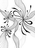 O fundo abstrato claro bonito com flores do laço curva o preto no branco ilustração do vetor