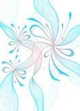 O fundo abstrato claro bonito com flores do laço curva o rosa azul no branco ilustração stock