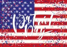 O fundo abstrato com voo da prata azul vermelha stars confetes no fundo da bandeira dos EUA Fotos de Stock Royalty Free