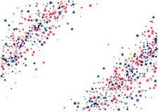 O fundo abstrato com voo da prata azul vermelha stars os confetes isolados Molde festivo vazio por feriados patrióticos dos EUA Imagem de Stock Royalty Free