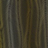 O fundo abstrato da grade com linhas douradas onduladas de teste padrão dinâmico da forma de onda das linhas listra o fluxo atual ilustração do vetor
