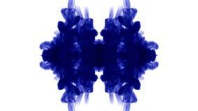 O fundo abstrato de fluxos da tinta ou do fumo é caleidoscópio ou mancha de tinta test12 de Rorschach Isolado no branco no movime ilustração stock