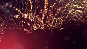 O fundo abstrato dinâmico de partículas de incandescência com bokeh de brilho sparkles Composição vermelha dourada escura com filme