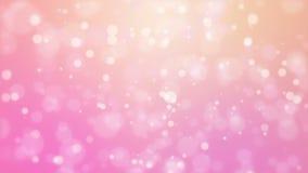 O fundo alaranjado cor-de-rosa romântico com partícula movente ilumina-se vídeos de arquivo
