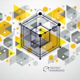 O fundo amarelo abstrato isom?trico com o cubo dimensional linear d? forma, elementos da malha do vetor 3d Disposi??o dos cubos,  ilustração do vetor