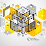 O fundo amarelo abstrato isom?trico com o cubo dimensional linear d? forma, elementos da malha do vetor 3d Disposi??o dos cubos,  ilustração royalty free