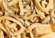 O fundo apetitoso dos peixes fritou com camarão e calamar imagem de stock