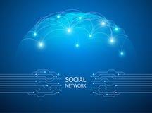 O fundo azul abstrato com mapa do mundo, linha do Internet, conectou pontos Imagens de Stock Royalty Free