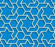 O fundo azul e branco geométrico com esboço expulsa efeito Imagens de Stock Royalty Free
