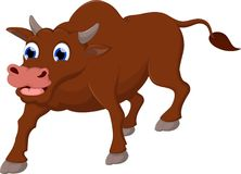 O fundo branco dos desenhos animados engraçados do sorriso da vaca para você projeta Fotografia de Stock Royalty Free