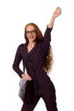 O fundo branco isolado conceito da mulher de negócios da mulher Foto de Stock
