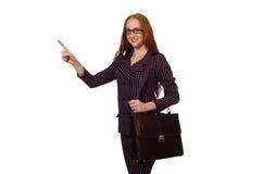 O fundo branco isolado conceito da mulher de negócios da mulher Fotografia de Stock