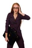 O fundo branco isolado conceito da mulher de negócios da mulher Imagem de Stock