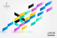 O fundo, o cartaz, o plano e 3d na moda geométricos da ilustração projetam elementos Arte retro para as tampas, as bandeiras, os  Imagens de Stock Royalty Free