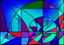 O fundo colorido abstrato, luz azul, geometrics extravagante dá forma, janela de vitral Foto de Stock Royalty Free