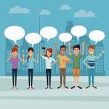 O fundo colorido com amizade do grupo dos homens e as mulheres que levantam com bolha dialogam na parte superior ilustração stock