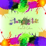 O fundo colorido com caótico espirra e borra Festival das cores Holi Fotos de Stock