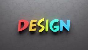 O fundo colorido 3d do conceito do texto do projeto rende Ilustração do Vetor