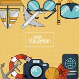 O fundo colorido de aprecia férias com a aro da âncora e da flutuação e a câmera e o passaporte ilustração do vetor