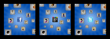 Fundos com cubos e ícones do usuário e rede social Imagem de Stock