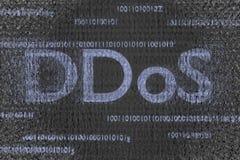 O fundo contaminado 3d do código de Ddos ataque em andamento rende Foto de Stock Royalty Free