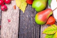 O fundo da ação de graças com outono frutifica e sae em uma tabela de madeira rústica Opinião superior da colheita do outono Copi Imagens de Stock Royalty Free