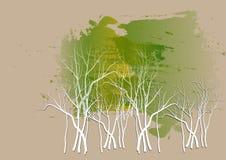 O fundo da floresta, o papel branco das árvores cortou o fundo da aquarela, ilustração do vetor Imagens de Stock