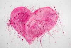 O fundo da forma do coração pintou pela escova no papel Fundo da aquarela com manchas Fundo com coração e manchas fotos de stock royalty free