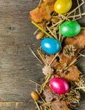 O fundo da Páscoa com galinha colorida eggs em placas cinzentas idosas Fotos de Stock