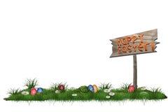 O fundo da Páscoa com os ovos na grama e a Páscoa feliz assinam Fotografia de Stock