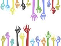 O fundo das mãos com ícones do Web Imagens de Stock Royalty Free