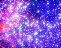 O fundo de brilhar estrelas coloridas no azul fotos de stock