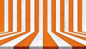 O fundo de madeira da textura, listra a laranja e o branco para o fundo de Dia das Bruxas Fotos de Stock Royalty Free