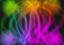 O fundo de néon brilhante alinha círculos Imagens de Stock Royalty Free