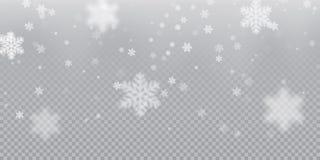 O fundo de queda do teste padrão do floco de neve da queda de neve fria branca overlay a textura isolada no fundo transparente Ne ilustração do vetor