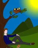 O fundo de uma pessoa relaxado ilustração stock