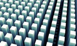 O fundo digital abstrato com colunas azuis põe o teste padrão Imagens de Stock