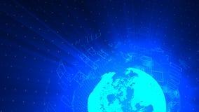 O fundo digital da distorção de vidro do globo, 3d abstrato rende, contexto gerado por computador ilustração stock