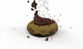 O fundo do bagel do chocolate, 3d rende Imagens de Stock