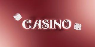 O fundo do casino com dados e o casino 3d assinam Bandeira larga do casino em linha Ideia superior da rotulação branca dos dados  Imagem de Stock