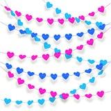 O fundo do coração Textured a estamenha e o grupo colorido da festão Fotografia de Stock Royalty Free