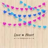 O fundo do coração Textured a estamenha e o grupo colorido da festão Fotos de Stock