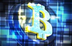 O fundo do cryptocurrency de Bitcoin rende a ilustração Imagens de Stock