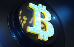 O fundo do cryptocurrency de Bitcoin rende a ilustração Fotografia de Stock