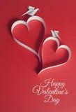 O fundo do dia de Valentim com pombas do origâmi e o papercraft ouvem-se Imagens de Stock