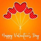 O fundo do dia do ` s do Valentim com coração vermelho balloons Imagens de Stock Royalty Free