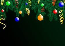 O fundo do feriado com desejos da estação e beira dos ramos de árvore de vista realísticos do Natal decorados ilustração do vetor