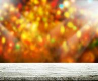 O fundo do feriado com o 3d de madeira vazio rende Foto de Stock