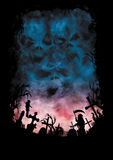 O fundo do horror com céus gosta dos crânios e de um cemitério Fotos de Stock