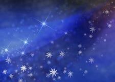 O fundo do inverno, o céu noturno Fotos de Stock Royalty Free